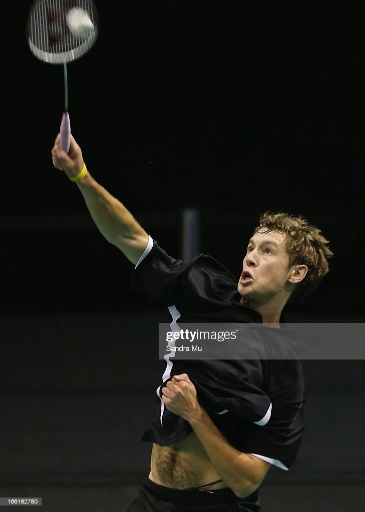 Elliot Pike of New Zealand in action during qualifying for the New Zealand Badminton Open at North Shore Events Centre on April 10, 2013 in Auckland, New Zealand.
