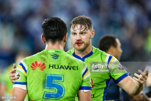 Elliot Whitehead of the Raiders and Jordan Rapana of the Raiders after the round nine loss NRL match between the Canterbury Bulldogs and the Canberra...