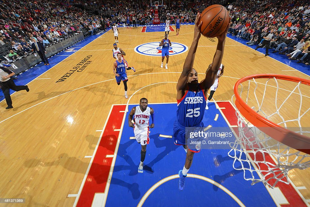 <a gi-track='captionPersonalityLinkClicked' href=/galleries/search?phrase=Elliot+Williams&family=editorial&specificpeople=5042444 ng-click='$event.stopPropagation()'>Elliot Williams</a> #25 of the Philadelphia 76ers dunks against the Detroit Pistons at the Wells Fargo Center on March 29, 2014 in Philadelphia, Pennsylvania.