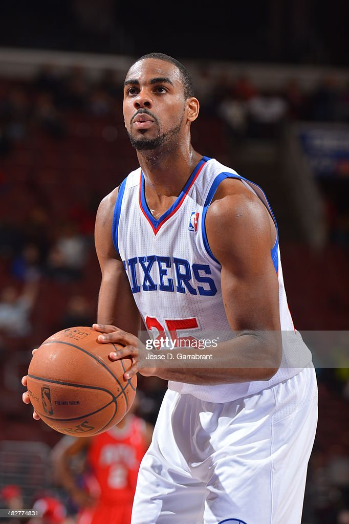 <a gi-track='captionPersonalityLinkClicked' href=/galleries/search?phrase=Elliot+Williams&family=editorial&specificpeople=5042444 ng-click='$event.stopPropagation()'>Elliot Williams</a> #25 of the Philadelphia 76ers shoots a free throw during the game against the Atlanta Hawks at the Wells Fargo Center on January 31, 2014 in Philadelphia, Pennsylvania.