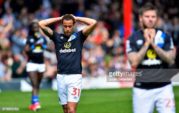 Elliott Bennett of Blackburn Rovers looks dejected after being relegated after the Sky Bet Championship match between Brentford and Blackburn Rovers...