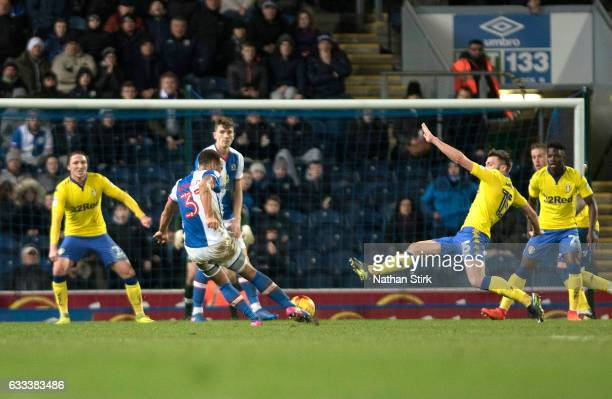 Elliott Bennett of Blackburn Rovers scores the equalizing goal to make score 11 during the Sky Bet Championship match between Blackburn Rovers and...