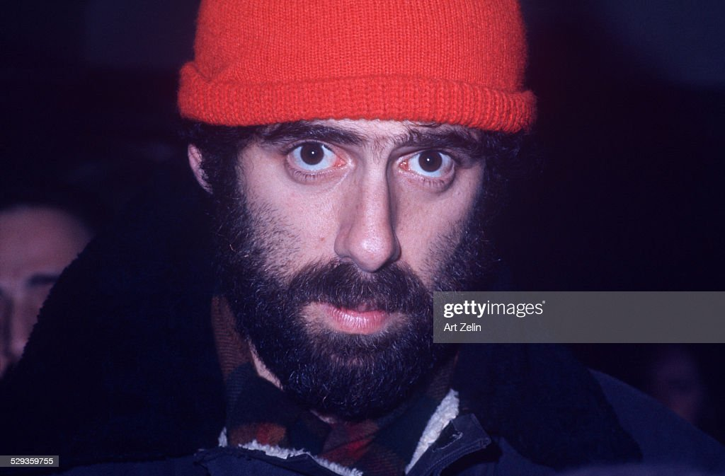 Elliott Gould in knit cap and beard looking into camera circa 1970 New York