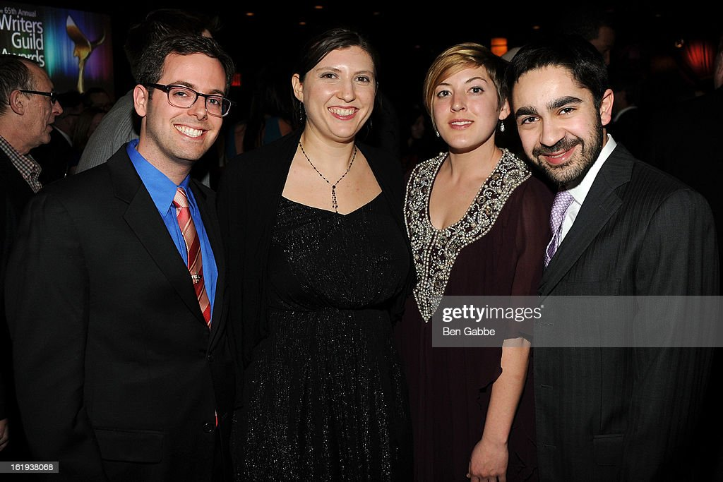 Elliott Kalan, Danielle Kalan, Emily Betrune and Zhubin Parang attend 65th Annual Writers Guild East Coast Awards After Party at B.B. King Blues Club & Grill on February 17, 2013 in New York City.