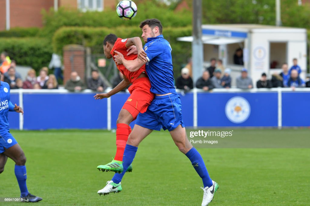 Elliott Moore of Leicester City against Rhian Brewster of Liverpool during the game between Leicester City and Liverpool: Premier League 2 match at Holmes Park on April 17 2017 in Leicester, United Kingdom
