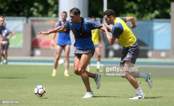 Elliott Moorre and Leonardo Ulloa of Leicester City during the training session in Hong Kong ahead of the Premier League Asia Trophy final against...