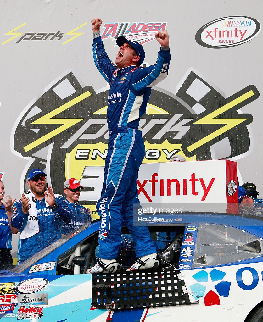 <a gi-track='captionPersonalityLinkClicked' href=/galleries/search?phrase=Elliott+Sadler&family=editorial&specificpeople=204623 ng-click='$event.stopPropagation()'>Elliott Sadler</a>, driver of the #1 OneMain Chevrolet, celebrates in Victory Lane after winning the NASCAR XFINITY Series Sparks Energy 300 at Talladega Superspeedway on April 30, 2016 in Talladega, Alabama.