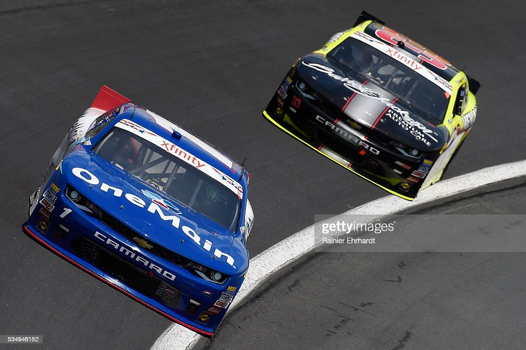 <a gi-track='captionPersonalityLinkClicked' href=/galleries/search?phrase=Elliott+Sadler&family=editorial&specificpeople=204623 ng-click='$event.stopPropagation()'>Elliott Sadler</a>, driver of the #1 OneMain Chevrolet, leads Brandon Jones, driver of the #33 Barrett-Jackson/Menards Chevrolet, during the NASCAR XFINITY Series Hisense 300 at Charlotte Motor Speedway on May 28, 2016 in Charlotte, North Carolina.