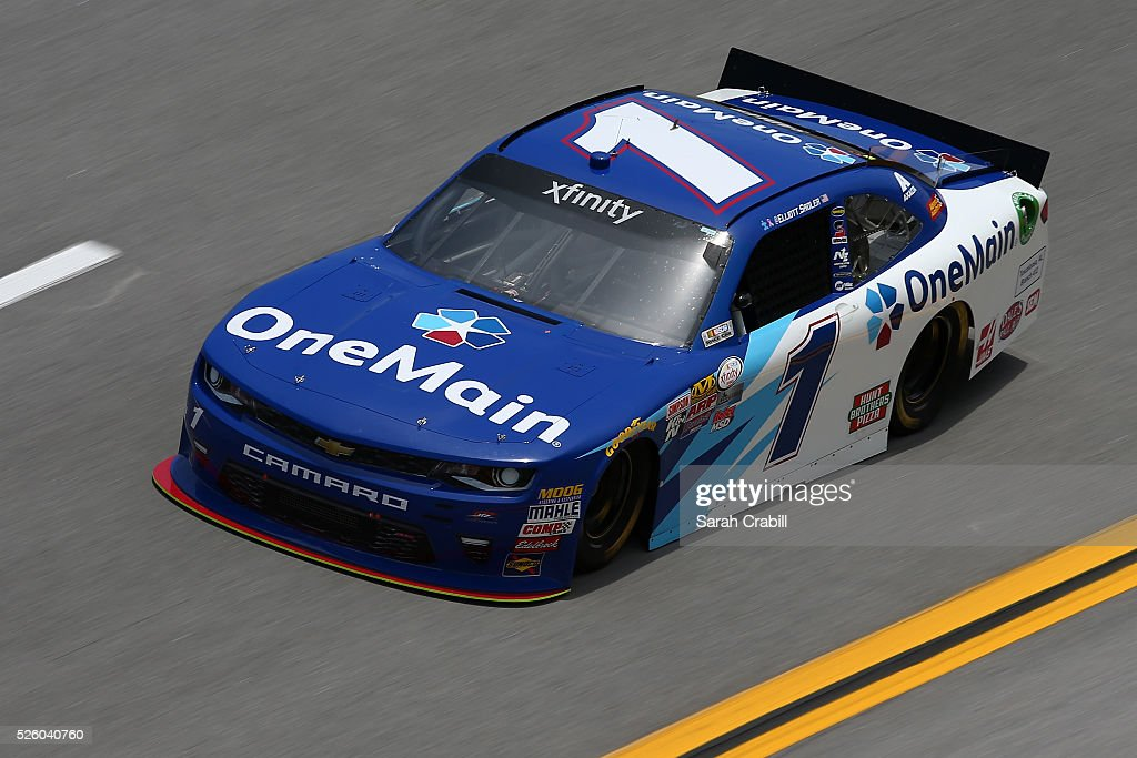 Elliott Sadler, driver of the #1 OneMain Chevrolet, practices for the NASCAR XFINITY Series Sparks Energy 300 at Talladega Superspeedway on April 29, 2016 in Talladega, Alabama.