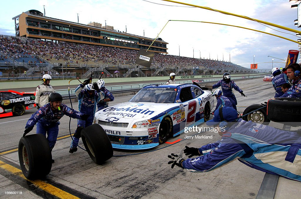 Elliott Sadler, driver of the #2 OneMain Financial Chevrolet, pits during the NASCAR Nationwide Series Ford EcoBoost 300 at Homestead-Miami Speedway on November 17, 2012 in Homestead, Florida.