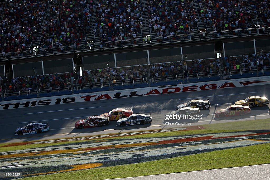 Elliott Sadler, driver of the #11 OneMain Financial Toyota, leads the field during the NASCAR Nationwide Series Aaron's 312 at Talladega Superspeedway on May 3, 2014 in Talladega, Alabama.
