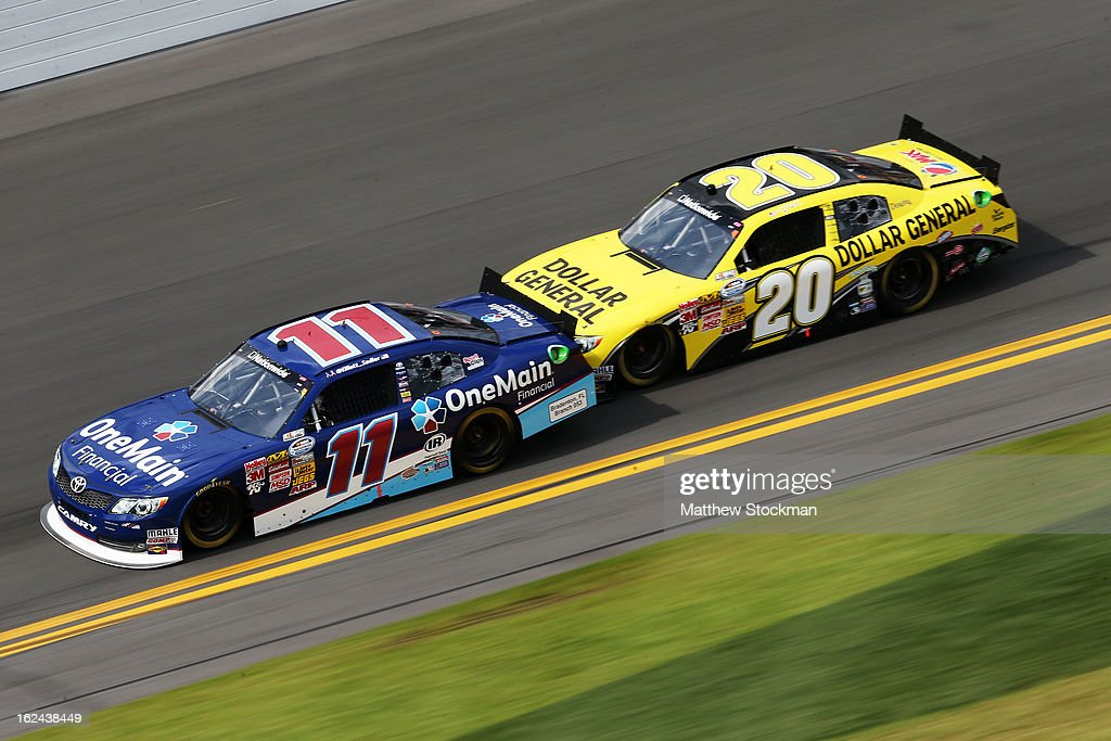 <a gi-track='captionPersonalityLinkClicked' href=/galleries/search?phrase=Elliott+Sadler&family=editorial&specificpeople=204623 ng-click='$event.stopPropagation()'>Elliott Sadler</a>, driver of the #11 OneMain Toyota, and <a gi-track='captionPersonalityLinkClicked' href=/galleries/search?phrase=Brian+Vickers&family=editorial&specificpeople=171225 ng-click='$event.stopPropagation()'>Brian Vickers</a>, driver of the #20 Dollar General Toyota, race during practice for the NASCAR Sprint Cup Series Daytona 500 at Daytona International Speedway on February 23, 2013 in Daytona Beach, Florida.