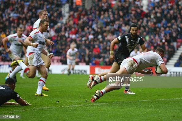 Elliott Whitehead of England scores the opening try during the third International Rugby League Test Series match between England and New Zealand at...