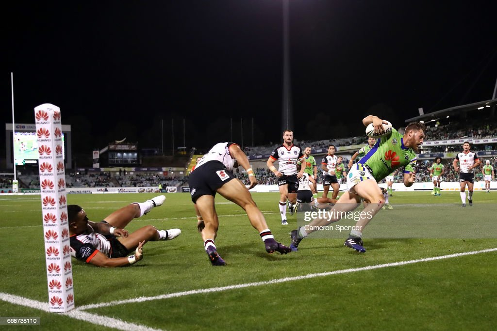 Elliott Whitehead of the Raiders runs the ball during the round seven NRL match between the Canberra Raiders and the New Zealand Warriors at GIO Stadium on April 15, 2017 in Canberra, Australia.