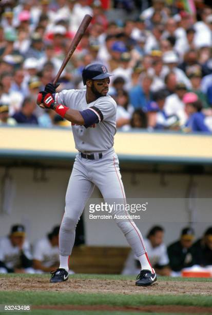 Ellis Burks of the Boston Red Sox bats during a regular season game in 1990