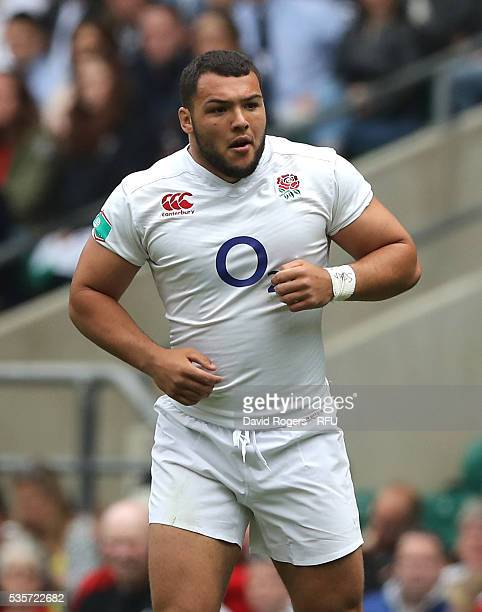 Ellis Genge of England looks on during the England v Wales International match at Twickenham Stadium on May 29 2016 in London England