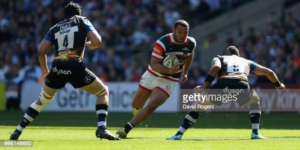 Ellis Genge of Leicester charges upfield during the Aviva Premiership match between Bath and Leicester Tigers at Twickenham Stadium on April 8 2017...