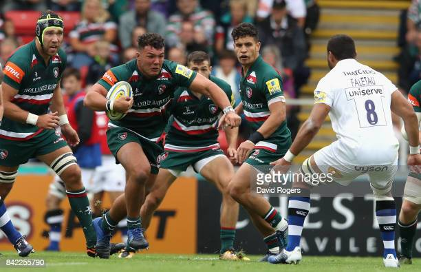 Ellis Genge of Leicester charges upfield during the Aviva Premiership match between Leicester Tigers and Bath Rugby at Welford Road on September 3...