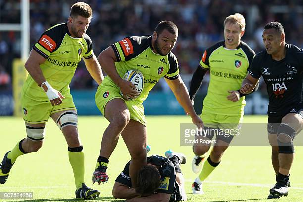 Ellis Genge of Leicester is tackled by Dominic Waldouck during the Aviva Premiership match between Newcastle Falcons and Leicester Tigers at Kingston...