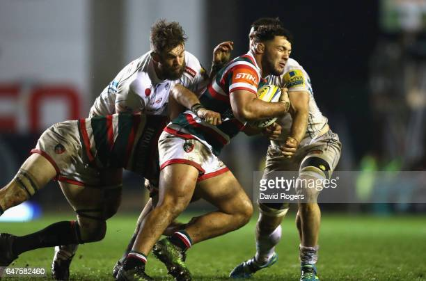 Ellis Genge of Leicester is tackled during the Aviva Premiership match between Leicester Tigers and Exeter Chiefs at Welford Road on March 3 2017 in...