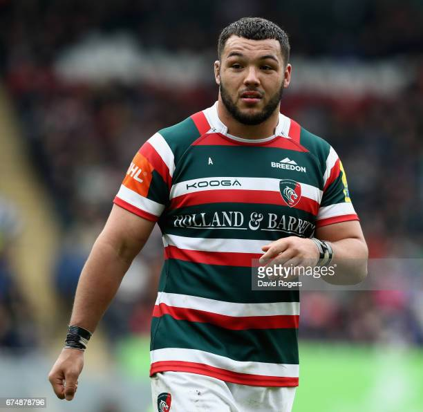 Ellis Genge of Leicester looks on during the Aviva Premiership match between Leicester Tigers and Sale Sharks at Welford Road on April 29 2017 in...