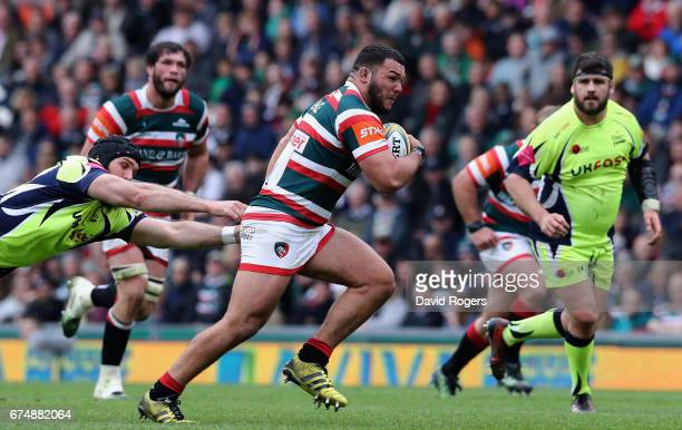 Ellis Genge of Leicester runs with the ball during the Aviva Premiership match between Leicester Tigers and Sale Sharks at Welford Road on April 29...