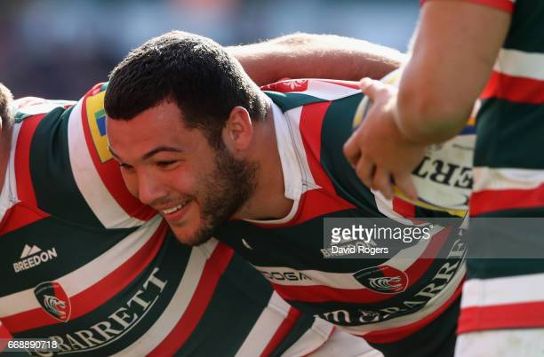 Ellis Genge of Leicester scrummages during the Aviva Premiership match between Leicester Tigers and Newcastle Falcons at Welford Road on April 15...