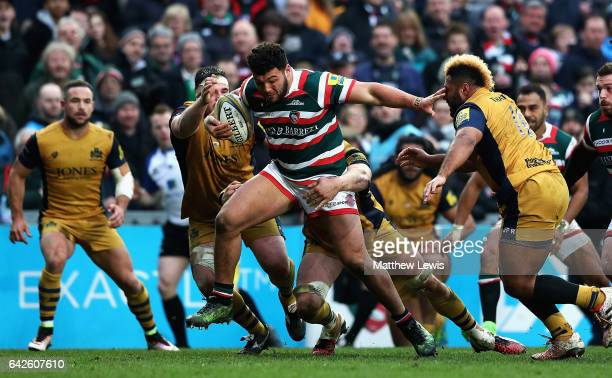 Ellis Genge of Leicester Tigers breaks through the Bristol defence during the Aviva Premiership match between Leicester Tigers and Bristol Rugby at...