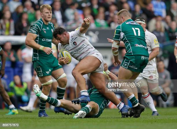Ellis Genge of Leicester Tigers during the Aviva Premiership match between London Irish and Leicester Tigers at Madejski Stadium on October 7 2017 in...