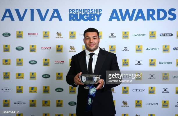 Ellis Genge of Leicester Tigers is presented the Land Rover Discovery of the Season Award during the Aviva Premiership Rugby Awards dinner at the...