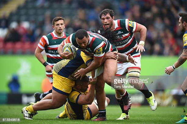 Ellis Genge of Leicester Tigers is tackled by Naama Leleimalefaga of Worcester Warriors during the Aviva Premiership match between Leicester Tigers...