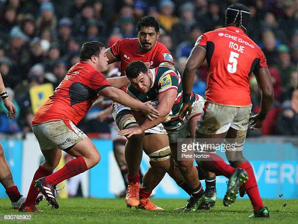 Ellis Genge of Leicester Tigers is tackled during the Aviva Premiership match between Leicester Tigers and Saracens at Welford Road on January 1 2017...
