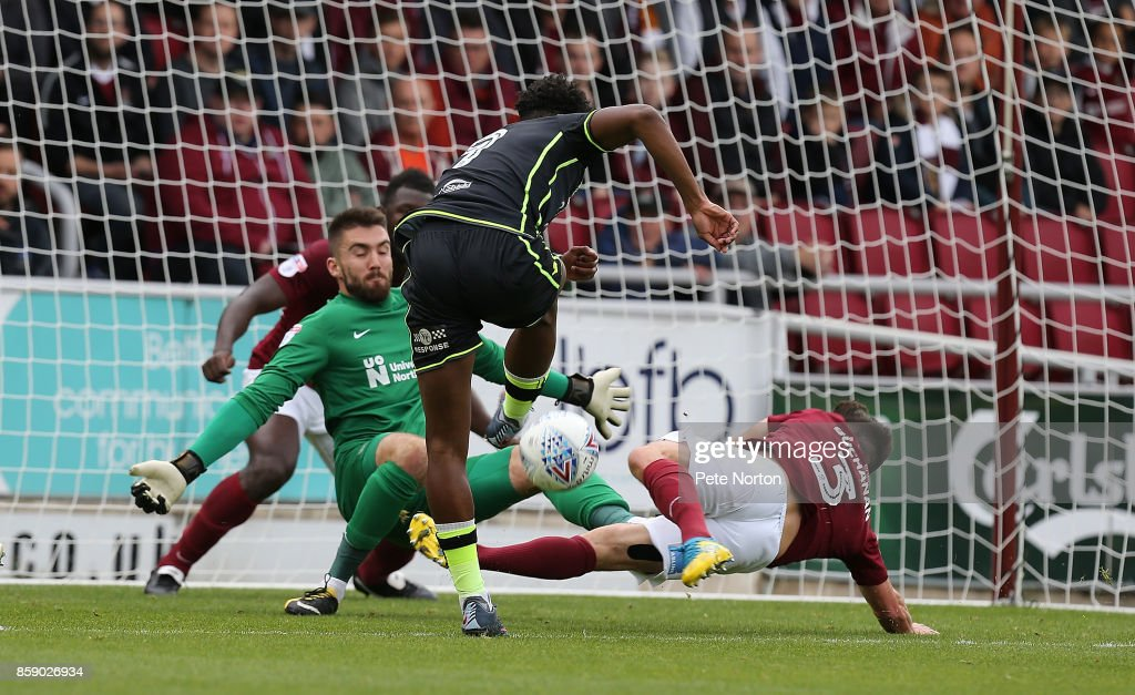 Ellis Harrison of Bristol Rovers has a shot at goal under pressure from David Buchanan of Northampton Town during the Sky Bet League One match between Northampton Town and Bristol Rovers at Sixfields on October 7, 2017 in Northampton, England.