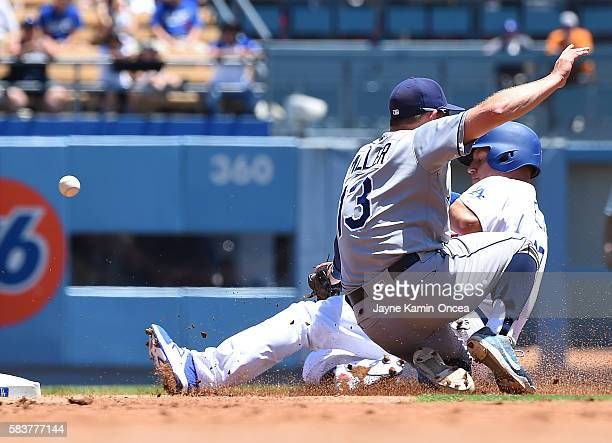 J Ellis of the Los Angeles Dodgers steals second base as the ball gets by Brad Miller of the Tampa Bay Rays allowing a run to score in the second...