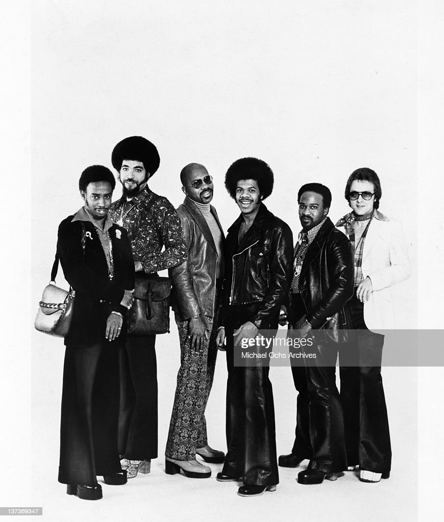 Ellwood Henderson, Jr., Lenny Fridie Jr., Gerry Thomas, an unidentified musician and Paul Forney (right) of the funk group 'The Jimmy Castor Bunch' pose for a portrait session in circa 1978 in New York City, New York.