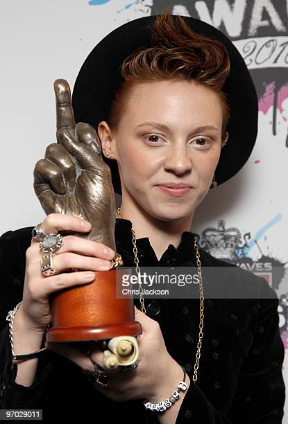 Elly Jackson aka La Roux poses with her award for Best Dancefloor Filler in the Award Room at the Shockwaves NME Awards 2010 at Brixton Academy on...