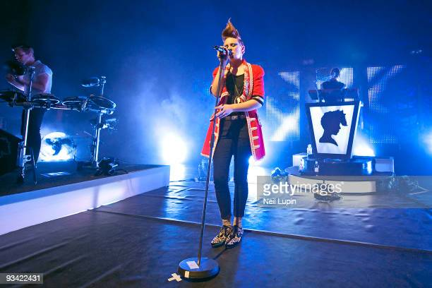 Elly Jackson of La Roux performs on stage at Shepherds Bush Empire on November 25 2009 in London England