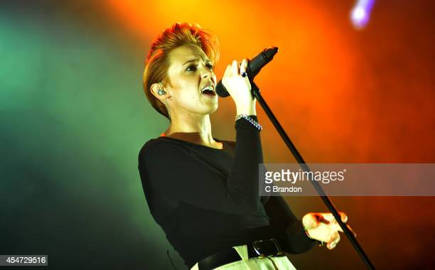 Elly Jackson of La Roux performs on stage during the 2nd day of Bestival 2014 at Robin Hill Country Park on September 5 2014 in Newport United Kingdom