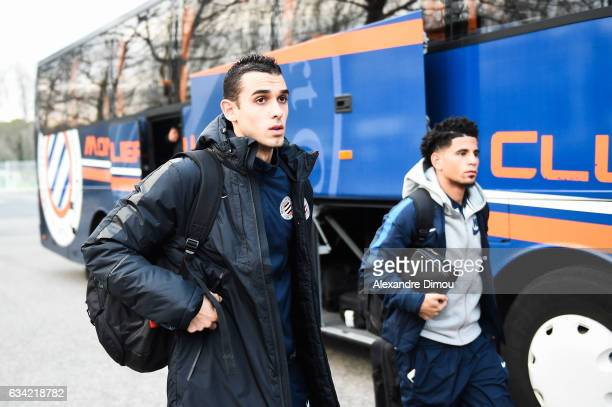 Ellyes Skhiri and Keagan Dolly of Montpellier during the French Ligue 1 match between Montpellier and Monaco at Stade de la Mosson on February 7 2017...