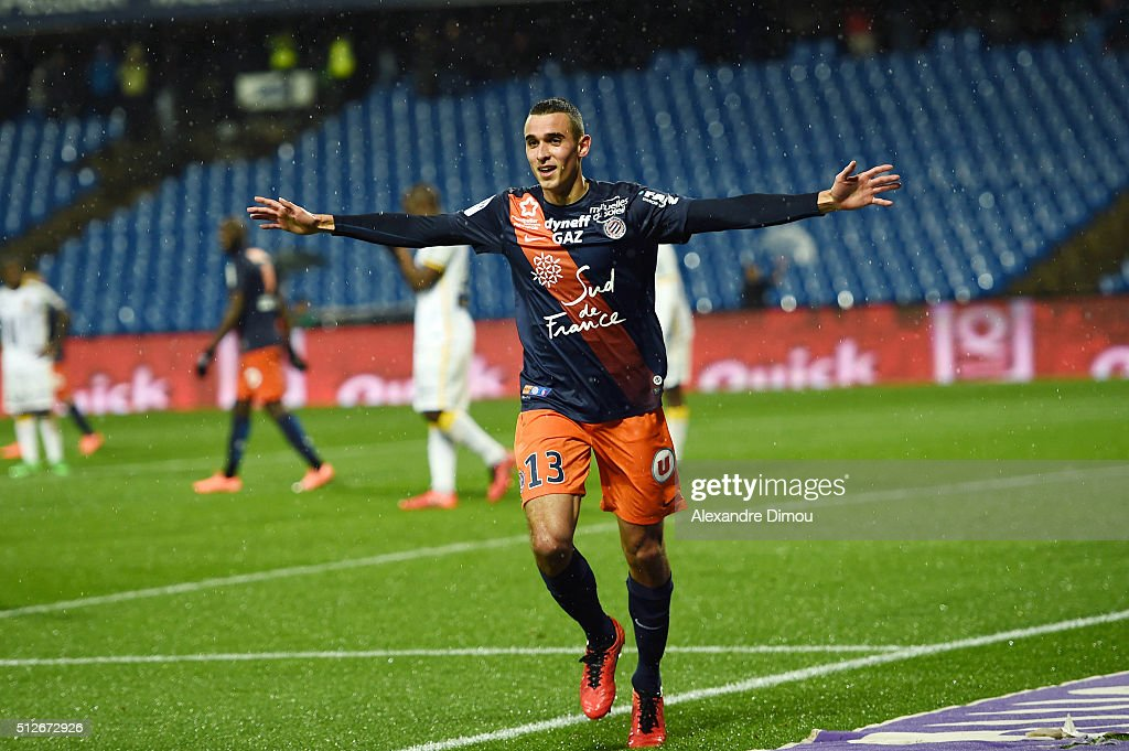 Ellyes Skhiri of Montpellier celebrates during the French Ligue 1 game between Montpellier Herault SC v Lille OSC at Stade de la Mosson on February...