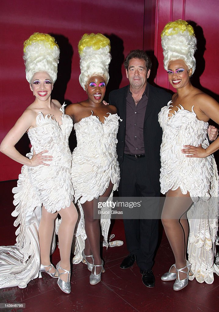 Ellyn Marie Marsh, Anastacia McCleskey, <a gi-track='captionPersonalityLinkClicked' href=/galleries/search?phrase=Huey+Lewis&family=editorial&specificpeople=243178 ng-click='$event.stopPropagation()'>Huey Lewis</a> and Jacqueline B. Arnold pose backstage at the hit musical 'Priscilla Queen of the Desert' on Broadway at The Palace Theater on May 5, 2012 in New York City.
