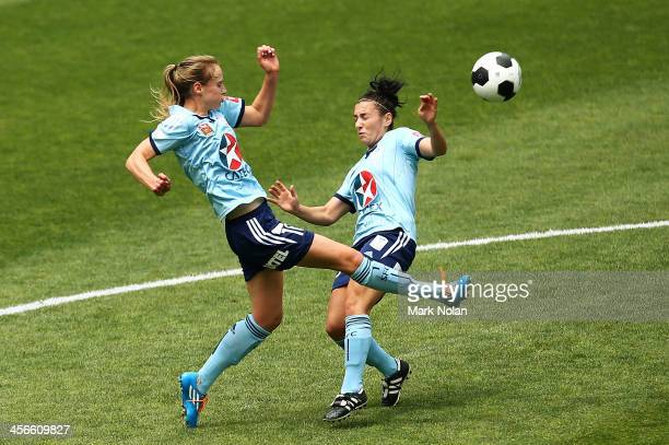 Ellyse Perry and Trudy Camilleri of Sydney go for the ball during the round five WLeague match between Sydney FC and the Melbourne Victory at Allianz...
