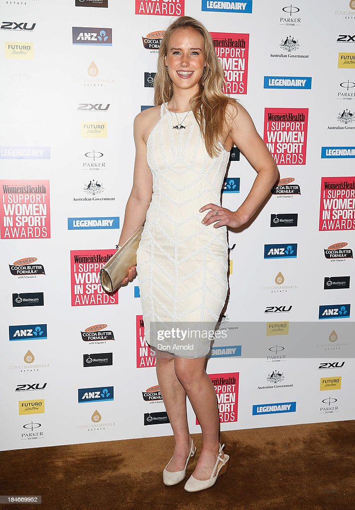 Ellyse Perry arrives at the 'I Support Women In Sport' awards at The Ivy Ballroom on October 15, 2013 in Sydney, Australia.