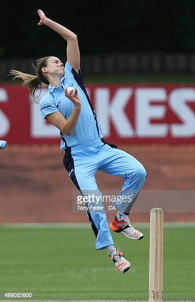 Ellyse Perry bowling for NSW Breakers during the WNCL Final match between the New South Wales and South Australia at Hurstville Oval on November 29...