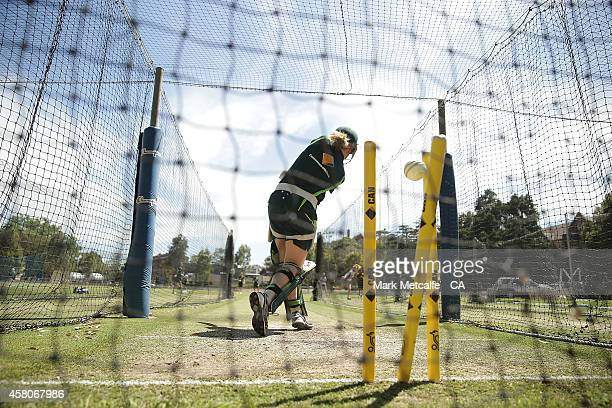 Ellyse Perry bowls to Alex Blackwell during an Australian Southern Stars training session at Sydney University on October 30 2014 in Sydney Australia
