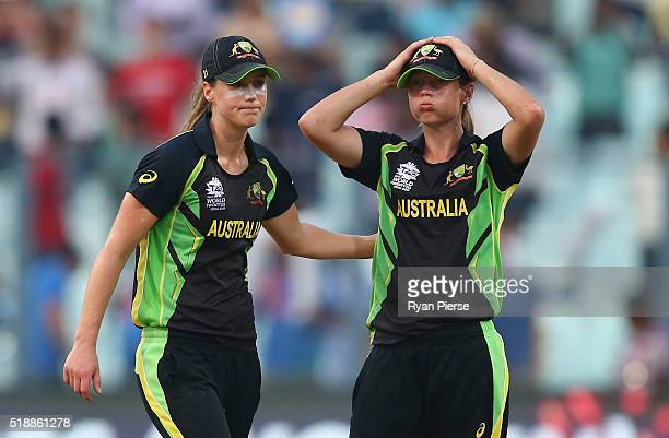 Ellyse Perry of Australia and Meg Lanning Captain of Australia look dejected after West Indies hit the winning runs during the Women's ICC World...