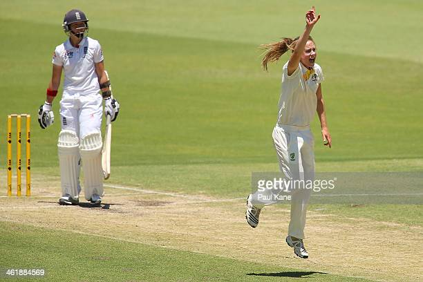Ellyse Perry of Australia appeals for the wicket of Arran Brindle of England during day three of the Women's Ashes Test match between Australia and...