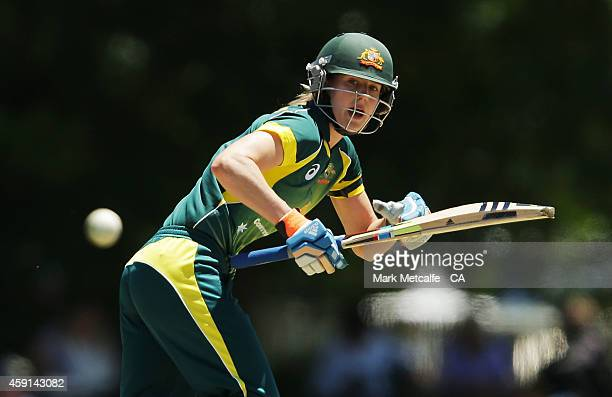 Ellyse Perry of Australia bats during game four of the International One Day series between Australia and West Indies on November 18 2014 in Bowral...