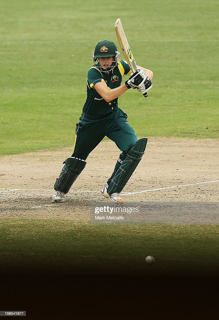 <a gi-track='captionPersonalityLinkClicked' href=/galleries/search?phrase=Ellyse+Perry&family=editorial&specificpeople=4414813 ng-click='$event.stopPropagation()'>Ellyse Perry</a> of Australia bats during game four of the one day international series between the Australian Southern Stars and New Zealand at North Sydney Oval on December 19, 2012 in Sydney, Australia.