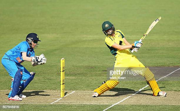 Ellyse Perry of Australia bats during game one of the Women's ODI series between Australia and India at Manuka Oval on February 2 2016 in Canberra...